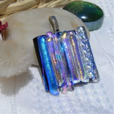 blue multi dichroic glass pendant