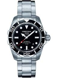 mens diver watches creative watch co certina ds action diver s all steel watch black bezel