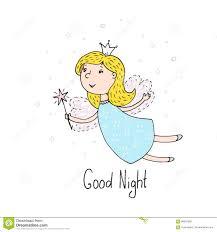 good night card hand drawn cute cartoon fairy vector ilration