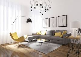 modern minimalist living room grey couch with yellow and grey decorative pillows yellow reading chair square
