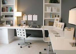 comfortable home office. Home Office : Grey Wall Paint In Design With White Shelfs And L Desk Comfortable
