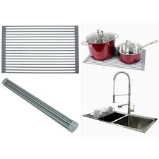 3 advantages of having dish drying rack. Ariel Over The Sink / Countertop Multipurpose Roll-Up Dish Drying Rack - Silicone Coated Stainless Steel Flat 3 Advantages Of Having