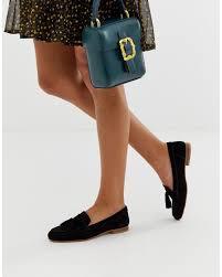 Asos Design Messenger Suede Tassel Loafers Asos Denim Wide Fit Message Suede Tassel Loafers In Black