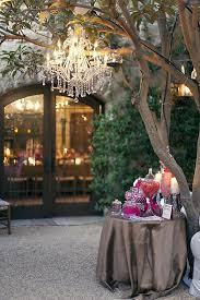 wedding candy buffet with chandelier
