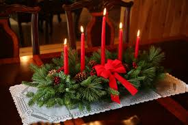 Decorations. Elegant Red Candle Table Cemterpiece Decoration With Pine  Ornaments And Bow For Christmas Table