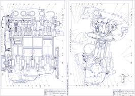 Курсовые и дипломные работы автомобили расчет устройство  Чертежи Двигатель ВАЗ 21128