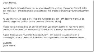 Job Offer Thank You Letter Thank You For Job Offer Email 7 Accepting Letter With Regard Things