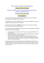 Mat 126 Week 3 Assignment Quadratic Equations By Srinivasateja484