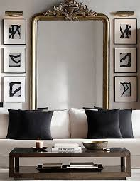 living room with large wall mirror