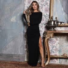 <b>Backless</b> Long Sleeve High <b>Side Split</b> Bodycon Elegant Maxi Dress ...