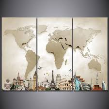hd printed 3 piece canvas art vintage world map painting