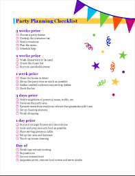 Party Planning Party Planning Checklist