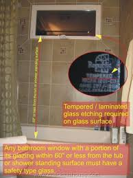 bathroom window safety glass required for any windows within 60 inches from the tub or
