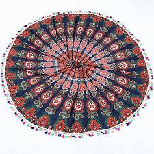 ethnic colorful tassel indian mandala tapestry wall hanging throw yoga mat decor round beach throw