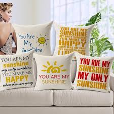 20 styles you are my sunshine cushion cover purple flower angel girl english letter love linen cotton pillow baby bedroom decoration replacement cover my furniture l48 cover