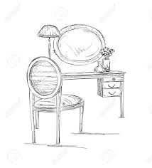hand mirror sketch. Hand Drawn Chair, Table And Mirror Sketch. Interior Sketch Stock Vector - 55731319 N