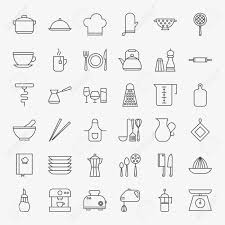 Image Watercolor 123rfcom Kitchen Utensils Line Art Design Icons Big Set Vector Set Of