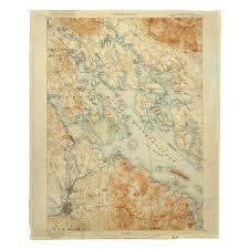 Nh Lake Winnipesaukee Nh C 1907 Vintage Topo Map Blanket