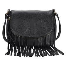 small fringe purse black