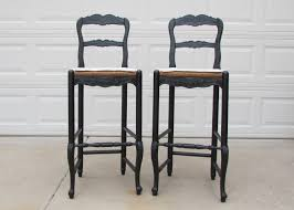french country bar stools with carved wooden back in black