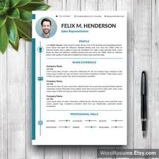 Modern Contemporary Resume Cover Letter Portfolio Resume Template Modern Cover Letter From Wordresume On Etsy