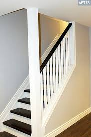 basement stairs ideas. Basement Half Open Staircase, White Spindles And Rising, Steps Stained In Red Oak Pewter Stairs Ideas