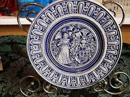 vintage ceramic english 3d decorative hanging plate wall decor blue white 7 1 2
