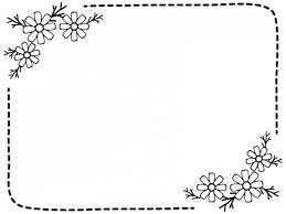 コスモスの白黒点線フレーム飾り枠イラスト 無料イラスト かわいい