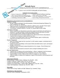 Resume Cover Letter Samples For Radiologic Technologist Job And