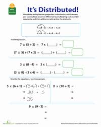 Properties of Multiplication: Distributive   Worksheet   Education.comThird Grade Multiplication Worksheets: Properties of Multiplication: Distributive