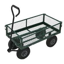 heavy duty metal gardening trolley green trailer cart