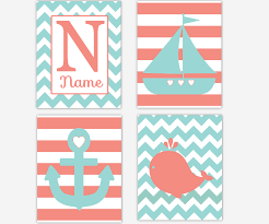 canvas prints for baby room. Baby Girls Canvas Nursery Wall Art Coral Teal Turquoise Whale Sailboat Anchor Nautical Personalize Name Prints Decor For Room