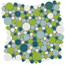 elida ceramica rounded colors circular mosaic porcelain wall tile common 11 in x