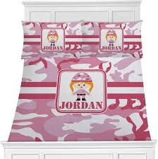 pink camo duvet cover set personalized