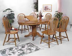 chunky dining table and chairs  dining room farmhouse  piece dining set in oak finish cool oak dining room set