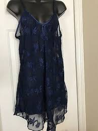 Sz S <b>Sexy</b> Lingerie Nighty Shear Navy Blue <b>Embroidered Floral</b> ...