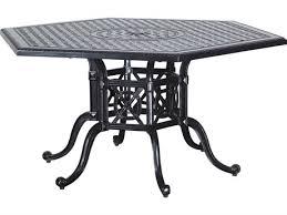 gensun grand terrace cast aluminum 61 hexagon dining table with umbrella hole ges10346a61