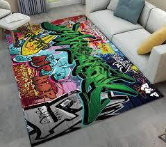 hip hop wall graffiti anti skid soft area rug home bedroom carpet room floor