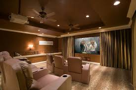 Interior:Nice Looking Theater Room Design With Double Ceiling Fan And Gold  Curtain Decorating Ideas