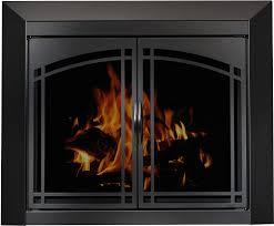 glass fireplace doors on