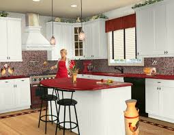 furniture white wooden kitchen cabinet and red granite kitchen islands top connected by double black