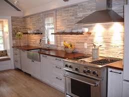 cozy kitchen gathering room with custom wood countertops floating shelves contemporary kitchen