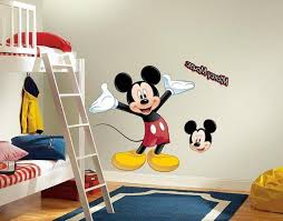 Mickey Mouse Bedroom Decor With Cartoon Wall Decals Andd Loft Bunk