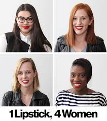 how one sephora red lipstick looks on 4 diffe skin tones and hair colors