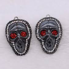 whole fashion cool black skull stone pendant red eyes skull necklace pendants for women jewelry making necklace pendants garnet pendant necklace from