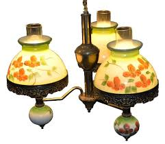 vintage chandelier with 3 victorian style parlor lamps and painted glass shades