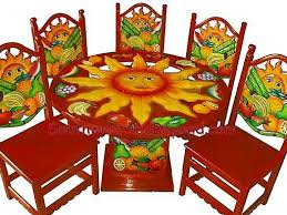painted mexican furnitureHand Painted Mexican Table Sets