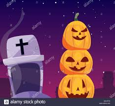 Christian Pumpkin Designs Halloween Pumpkin With Fear Face In Cemetery Scene Vector