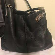COACH Madison Phoebe Medium Black Leather Bag