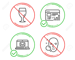 Do Or Stop Web Report E Mail And Beer Glass Icons Simple Set